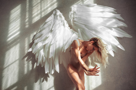 sexy woman nude: female with wings posing in studio