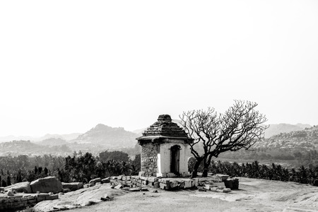 black art: Fine art photography of Indian region named Hampi  in contrast black and white edition