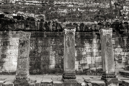 past civilizations: Fine art photohraphy in black and white edition of Angkor Wat temple complexes