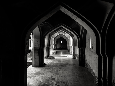 architectural exteriors: Fine art photography of Indian region named Hampi  in contrast black and white edition