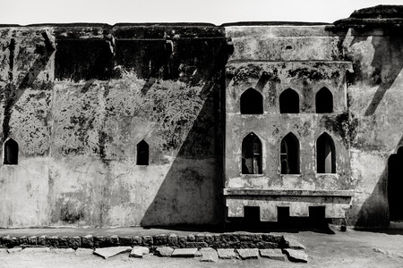 karnataka culture: Fine art photography of Indian region named Hampi  in contrast black and white edition