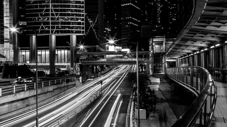 black art: Fine art photography of Hong Kong city in contrast black and white edition Stock Photo