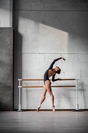 ballet bar: Young beautiful dancer posing in studio
