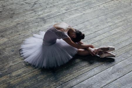 スタジオでポーズをとる若い美しいバレリーナ 写真素材