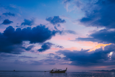 Silhouette of the boat in Krabi province. Thailand