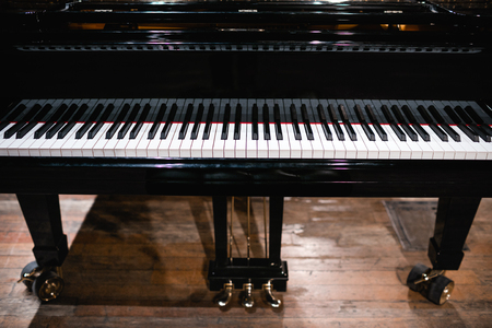 Piano keyboard with glossy black and white keys  Reklamní fotografie