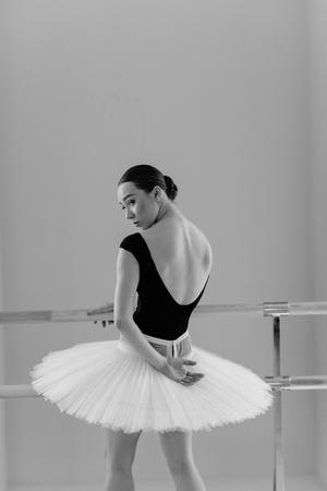 Beuatiful ballerina training in the class