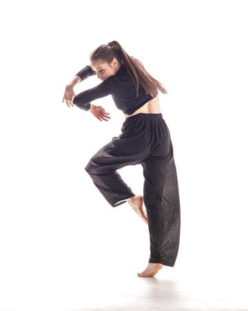Beuatiful female dancer. White background Stock Photo