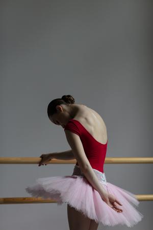 Beautiful ballerina training in the class