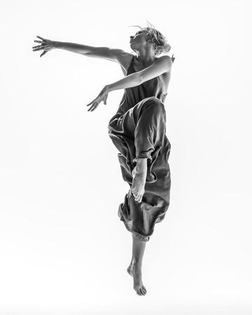 Beuatiful female dancer. White background Archivio Fotografico