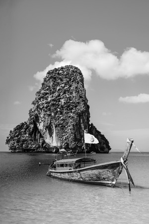 Boat on the beach ins Krabi Stock Photo