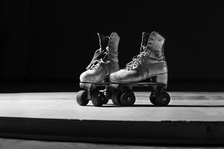 roller skates in black and white