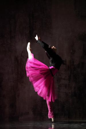 one ballerina dancing in pink tutu Stock Photo - 124096257