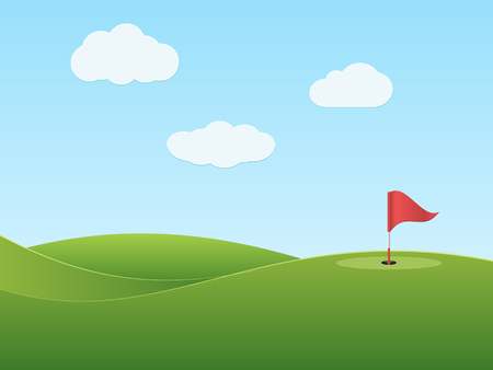 Golf course with hole and red flag.