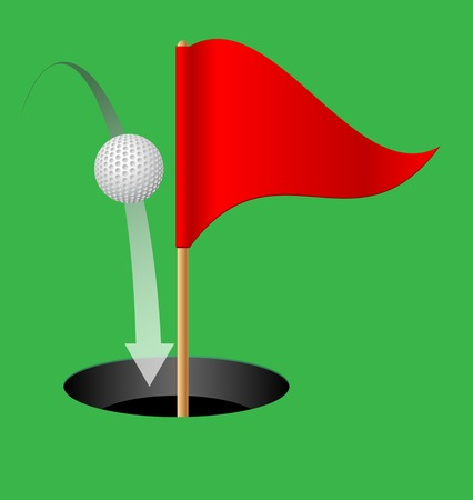 dimple: Golf hole, golf ball and golf flag on a green background. Vector illustration.