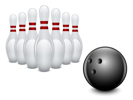 Bowling ball and pins on white background. Vector illustration.