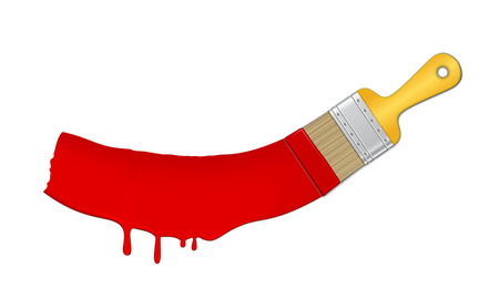 Paint and brush. Bright red splash. Isolated vector illustration on white background.