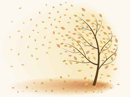 Autumn tree leaves are falling, the wind. Vector illustration on a beige background.