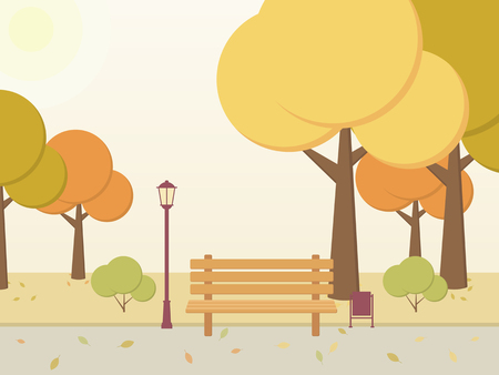 Autumn Park. Trees, bushes, leaves, bench, alley in the city square. Vector illustration.