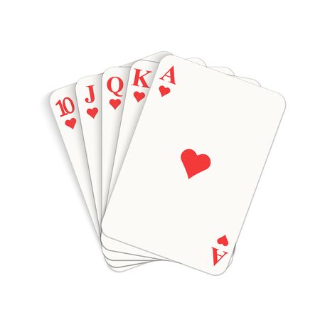 Play casino gambling. Winning poker hand. Royal flush of hearts.  Isolated vector illustration on white background.