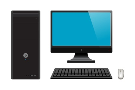 Realistic computer case with monitor, keyboard and mouse, isolated on white background, vector illustration.