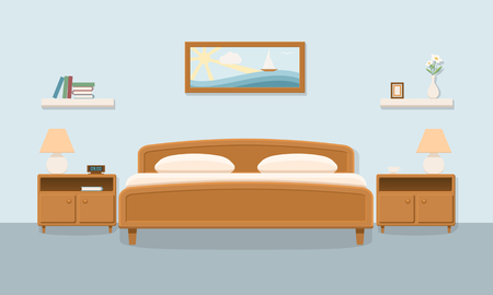bedroom furniture: Bedroom interior. Double bedroom. Family bedroom for a couple with furniture. Flat vector illustration with shadow.