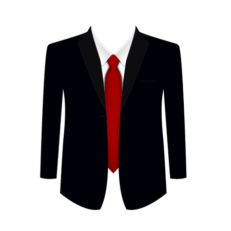 tailored: Suit, shirt and tie on a white background. Detailed vector illustration. Illustration