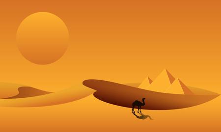 Dünen, Pyramiden, Kamel auf dem Hintergrund der Wüstenlandschaft. Sahara-Wüste in Ägypten. Vektor-Illustration.