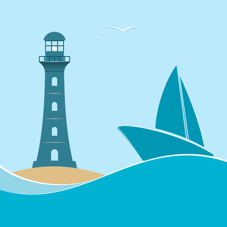 Nautical life.Lighthouse and sailboat on a navy background. Vector illustration. Illustration