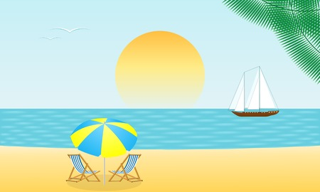 Tropical beach at sunset sea background. Vector illustration.