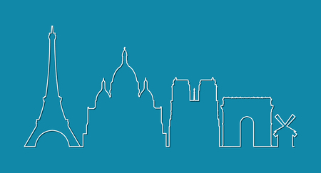 Paris city skyline silhouette on blue background, vector illustration.
