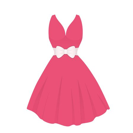 Red female dress with white belt. Isolated vector illustration on white background. Illustration