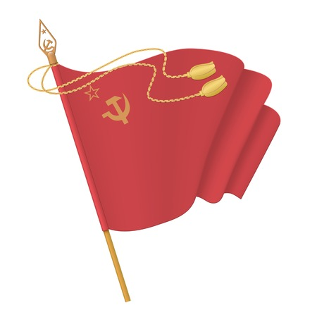 Flag of the Soviet Union. Hammer and sickle. Isolated vector illustration on white background.