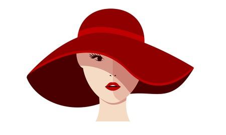 白地に赤い帽子の美しい少女。ベクトル図を分離しました。