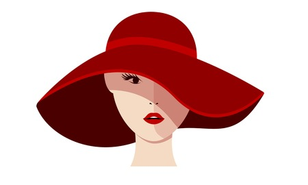 Beautiful girl in a red hat on a white background. Isolated vector illustration.