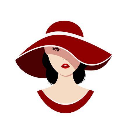 Pi? Kna kobieta w czerwonym kapeluszu na bia? Ym tle. Izolowane ilustracji wektorowych.