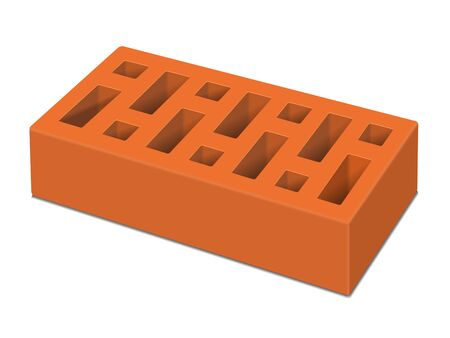 Red brick on a white background. Vector illustration.