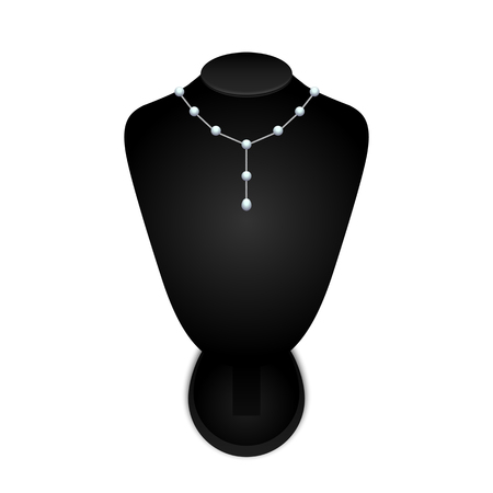 boutique display: Black jewelry bust with a necklace on a white background. vector illustration.