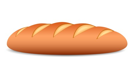 Loaf of bread on a white background. Vector illustration.