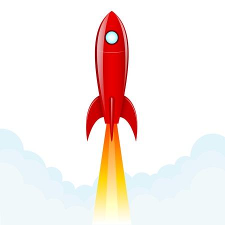 spaceport: Rocket on a white background. Vector illustration. Illustration