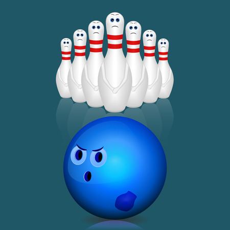 Bowling ball and pins. Vector illustration. Illustration