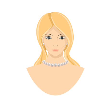 Beautiful model with a pearl necklace. Girl with jewelry. Isolated vector illustration on white background.