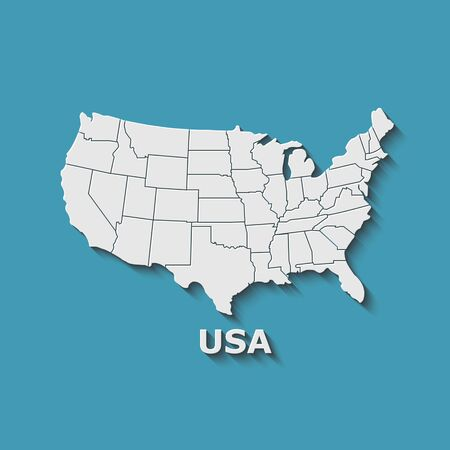 Map of USA with separable borders on a blue background. Creative design. Vector illustration.