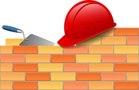 bricks hard hat trowel vector illustration
