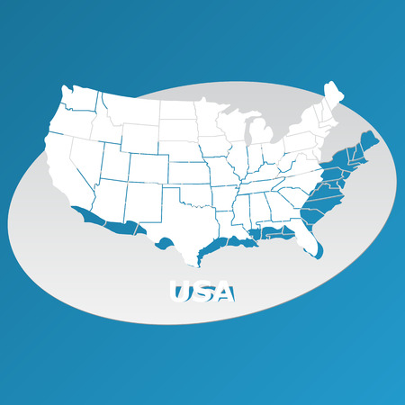 Map of the United States cut paper vector illustration.