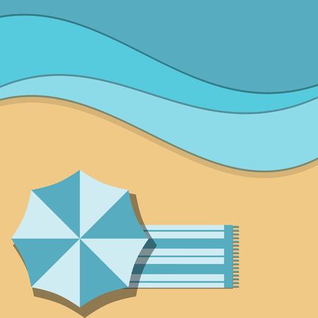 top view abstract beach and sea ocean.  vector illustration background flat style Çizim
