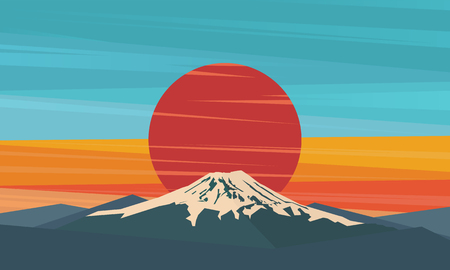 Mountain, volcano on the sun. Fuji against red sunset. Symbol of Japan. Vector illustration. Иллюстрация