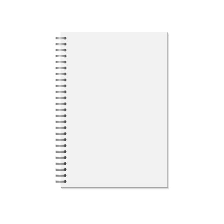 Mock up blank closed notebook  isolated on white .  Template spiral copybook or organizer. illustration Vettoriali