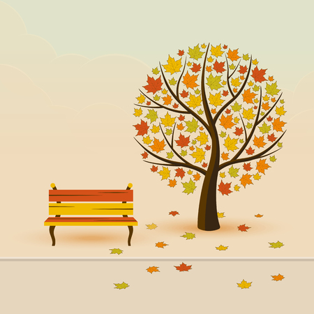 rusty background: Autumn park with maple, bench and leaf fall vector illustration