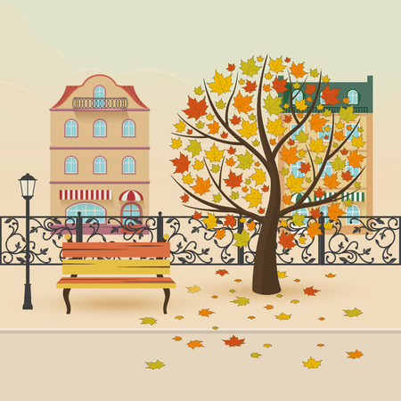 autumn background: Autumn city park. Maple with falling leaves. Vector illustration.